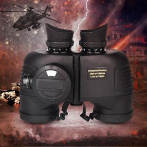 7x50 HD Military Binoculars BAK4 Lens Day/Night Vision Telescope with Compass &
