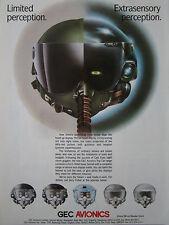 6/1989 PUB GEC AVIONICS TOP CAT HELMET CASQUE NIGHT VISION ON-HEAD DISPLAY AD