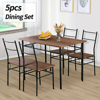 5 Piece Metal Dining Table Set W/ 4 Chairs Wood Top Dining Room Furniture Brown