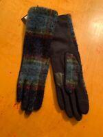 $65 Women's Echo Plaid Wool Cashmere Blend Long  Gloves Size Medium #22-1