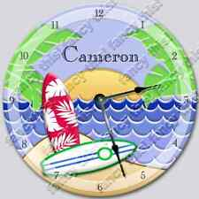 Wall Clock ISLAND SURF Personalized Nursery Art Baby Toddler Room Decor _FT