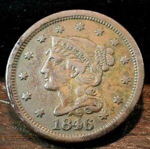 1846 USA Braided Hair Large Cent Medium Date N-11  (012)