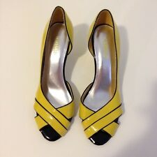 Seychelles Yellow Black Patent Leather Women Peep Toe High Heel Shoes Sz 8.5