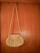 Unbranded beige shoulder bag, gold studs, 9 in. x 13 in. x 8 in. x 22 in. x 3 in