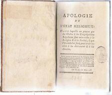 LAMBERT - APOLOGIE DE L'ETAT RELIGIEUX - LIVRE ANCIEN RARE XVIII ème RELIGIONS