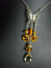 NECKLACE & EARRINGS SET AMBER SAPPHIRE TOPAZ BUTTERFLY 925 sterling silver