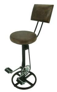 Retro Recycled Bar Stool with Backrest - Bicycle Pedals Foot Rest - Leather Seat