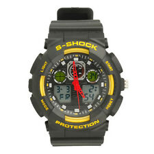 Cool Men Military Sports Diving Waterproof Quartz LED Digital Wrist Watch Yellow