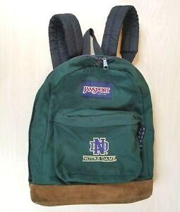 Vintage 90s Jansport Leather Bottom Backpack Green Notre Dame Logo