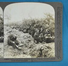 WW1 Stereoview Photo Brave Belgian Soldiers Firing From Their Trenches Underwood