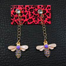 Betsey Johnson Fashion Purple Crystal Enamel Cute Bee Honeybee Wonmen Earrings