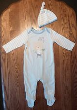 2 Pce, All-In-One, Sleepsuit with Hat, Size 0, 6 to 9 Mths, Cotton, Brand New
