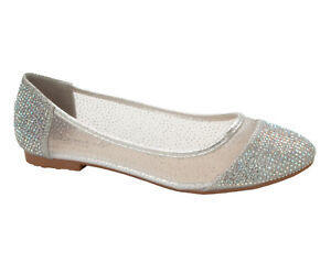 WOMENS SILVER GLITTER MESH GEM WEDDING PARTY DOLLY PUMPS SHOES LADIES SIZE 3-8
