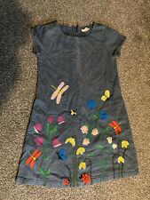 Mini Boden Denim Applique Dress Age 6-7 Butterflies Flowers