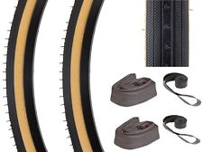 "TWO KENDA K35 GUMWALL 27x1-1/4"" ROAD BIKE TIRES TUBES & RIM STRIPS SET KIT NEW"
