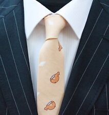 Tie Neck tie Slim Beige with Little Whales Quality Cotton T6200