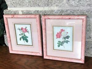 2 VINTAGE BALANGIER DESIGN FINE ART AND FRAMING ROSE PRINTS FRAMED 8 W X 9 H