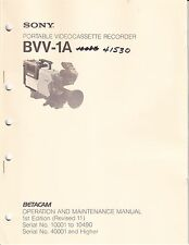 SONY OPERATION & MAINTENANCE MANUAL for a BVV-1A VIDEOCASSETTE RECORDER
