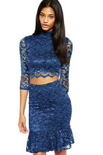 Hot Fashion Navy Night Club Lace Soft Lining Midi Skirt Set