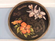 Hawaii Tin Souvenir Plate Tray - Toleware with State Map Flowers Landmarks