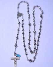 VINTAGE CHAPIN & HOLLISTER STERLING SILVER CHAPLET ROSARY TINY ENAMEL MARY MEDAL