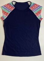 Athleta Womens T-Shirt Navy Blue Red Raglan Sleeve Crew Neck Pullover Tee XS