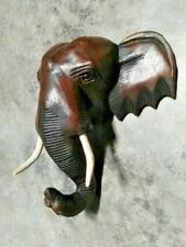 "12"" WOODEN THAI ELEPHANT'S HEAD Wood Carved Hanging Wall Home Decor Collectible"