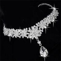 Mode strass kristall hochzeit braut blume krone stirnband tiara prom