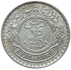 SYRIA 25 Piastres 1929 Silver AU
