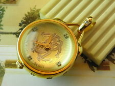 EXQUISITE LUXURY ITALY ROBERTO CAVALLI GOLD CRYSTAL BALL PENDANT  QUARTZ WATCH