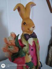 Vintage Large Peter Rabbit Easter Bunny Ceramic Figure Top Hat & Tails