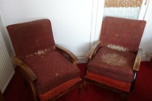 Pair Of Vintage side wings Armchairs For Re-upholstery