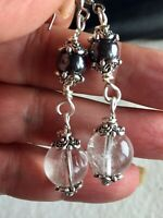 Clear Quartz/ Hematite Dangle Earrings Chain Style Handmade