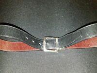 Unisex FOSSIL Black /Brown reversible Leather BELT ~ fits 30-34 silver hardware
