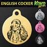 English Cocker Spaniel Round Pet Dog Puppy ID Tag Personalised Engraved + Ring
