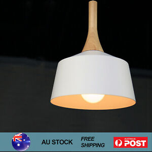 Modern Kitchen Pendant Light Nordic Timber Chandeliers Ceiling Lamp 27CM White