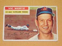 VINTAGE OLD 1950S BASEBALL 1956 TOPPS CARD VIC WERTZ CLEVELAND INDIANS