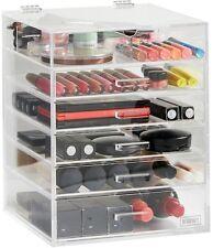 Medium 6 Tier Makeup Organiser 5 Drawers Acrylic Clear Hinged Lid Jewelery Box