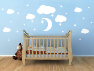Clouds moon and stars wall stickers, Nursery wall stickers