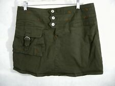 Marithe Francois Girbaud 30 Skirt Olive Green Mini Pocket Pouch Button Stretch