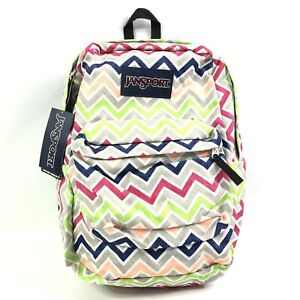 Jansport Superbreak Chevron Backpack Gray Pink Blue Neon Green New with Tags