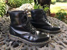 Dr Doc Martens 8 Up Flat the Original Black Ankle  Boots Vintage England SZ 9 UK