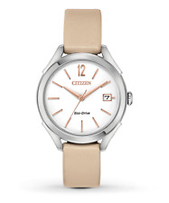 Citizen Eco-Drive LTR Women's Silver-Tone Case Beige 34mm Watch FE6140-03A