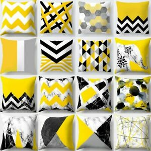 Cojines Decorativos Para Cushion Cover Yellow Pillow Geometric Marble Polyester