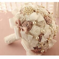 HANDMADE Bridal Wedding Bouquet Flower Crystal Preal Silk Rose Lace Brooch decor
