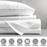 1800TC 4 pcs Soft Deep Pocket Flat Fitted Bed Sheet Set Pillowcases Queen & King
