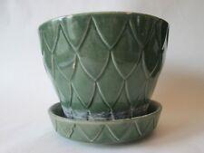 FLOWER POT & SAUCER! Vintage AMERICAN ART pottery: FISH SCALE pattern: LOVELY