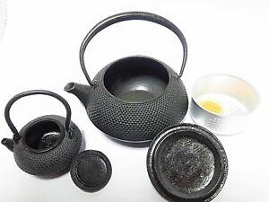 Antique Japanese Nanbu Tekki Tetsubin Kyusu ARARE 2 pieces Iron Teapot #576