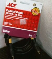 Ace 34693 Coaxial 6' Cable Rg59/U, 75 Ohm, Free Shipping