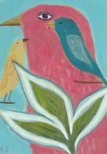ACEO Pink Bird Tropical Leaves Painting Original Whimsical Folk Art SFstudio